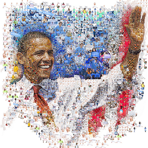 Barack Obama: Hope over fear (Mosaic Illustration) por tsevis.